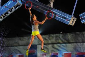 Kacy Catanzaro negotiates The Ring Toss. (Photo credit: Alexandra Olivia via www.dallasnews.com.)